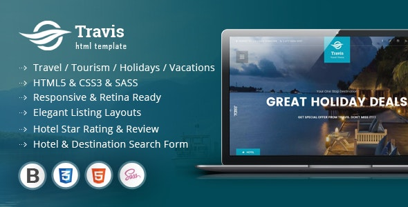 Travis Travel Listing HTML5 Template - Corporate Site Templates