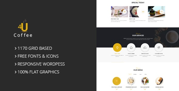 4uCoffee – One Page PSD Template - Restaurants & Cafes Entertainment