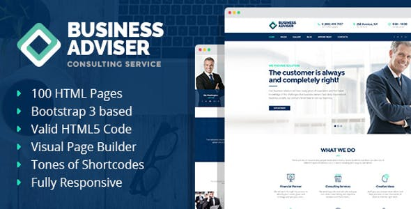 Business Adviser - Multipurpose HTML Template with Visual Page Builder