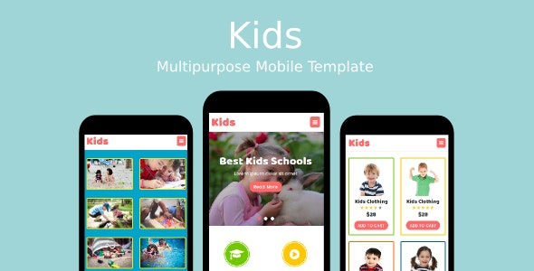 Kids - Multipurpose Mobile Template - Mobile Site Templates
