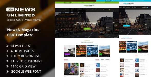 News Unlimited - Miscellaneous PSD Templates