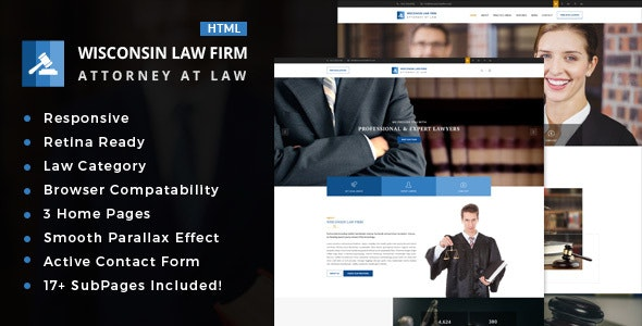 Wisconsin : Law Firm HTML Template - Business Corporate