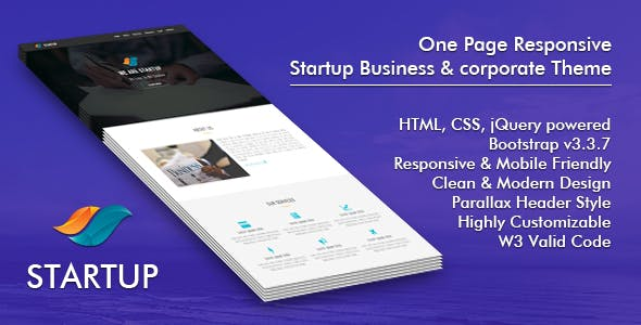 Startup : One Page Responsive Startup Business & Corporate Template