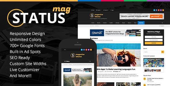 Status Magazine WordPress Theme - News / Editorial Blog / Magazine