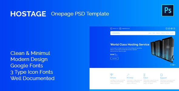 Hostage Hosting PSD Template - Photoshop UI Templates