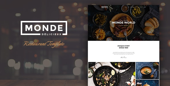 Monde - Restaurant PSD Template - Restaurants & Cafes Entertainment