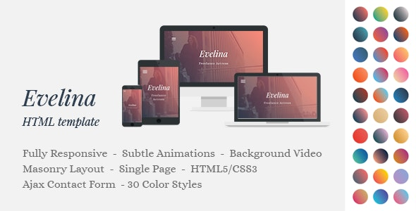 Evelina - Responsive One Page HTML Template for Actor / Model Portfolio - Creative Site Templates