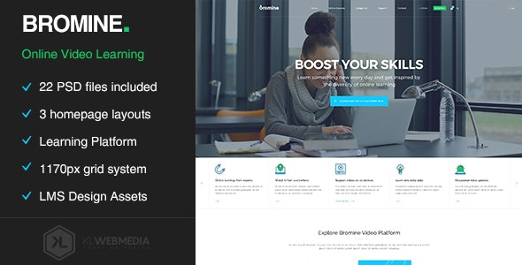 Bromine - Online Learning Platform PSD template - Entertainment Photoshop
