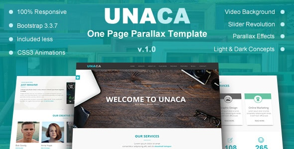 Unaca - One Page Parallax Template - Creative Site Templates