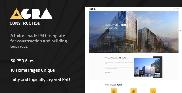 Agra | Construction Business Template - Corporate Photoshop