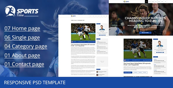 Sports Time Blog - PSD Template - Photoshop UI Templates