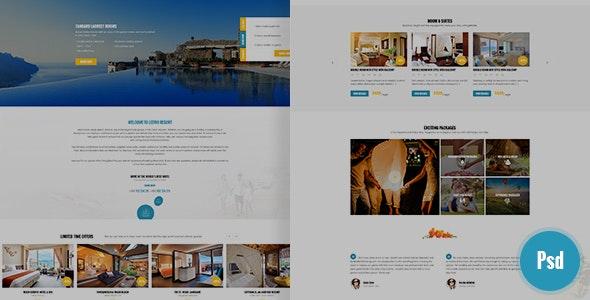 Leevio & Resort, Hotel, Travel PSD Template - PSD Templates