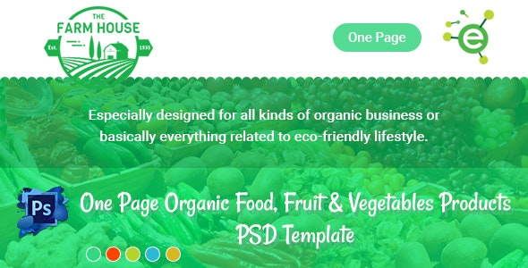 The Farm House - One Page Organic Food, Fruit & Vegetables Products PSD Template - Food Retail