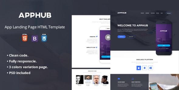 Apphub App Landing Page - Site Templates