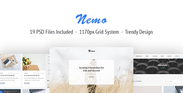 Nemo Blog PSD Template - Creative Photoshop