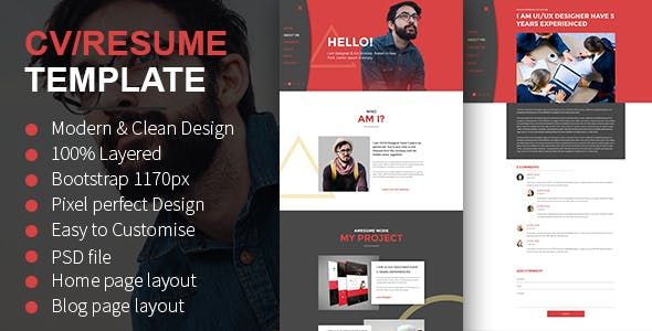 CV Resume PSD Template