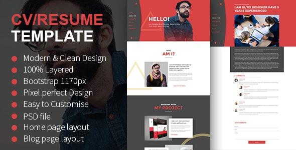 CV/Resume PSD Template - Personal Photoshop