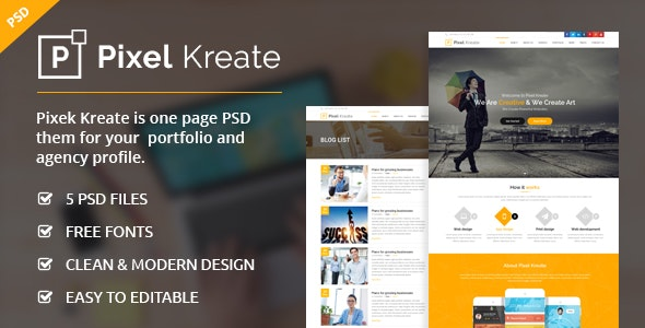 Pixel Kreate - One Page PSD Template - Creative Photoshop