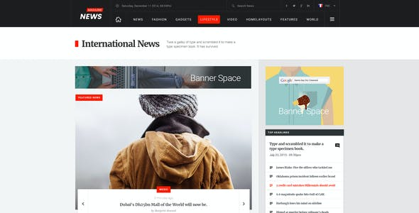 News Magazine - Multipurpose News Magazine PSD Template