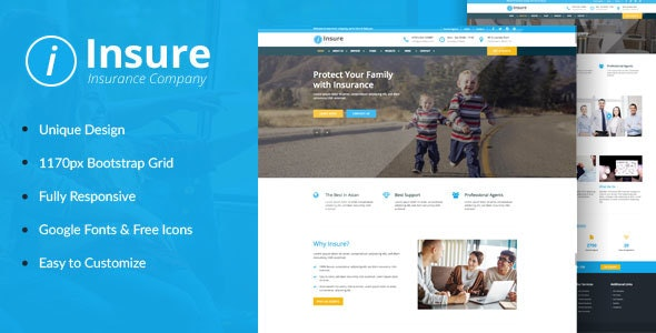 Insure - Insurance, Finance, & Business HTML Template - Business Corporate