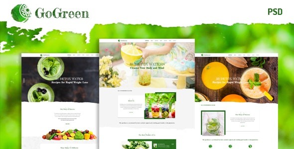 GoGreen Detox Water PSD Template - Restaurants & Cafes Entertainment