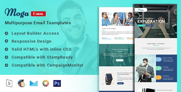 Moga-Responsive Email Template + Online Builder - Email Templates Marketing