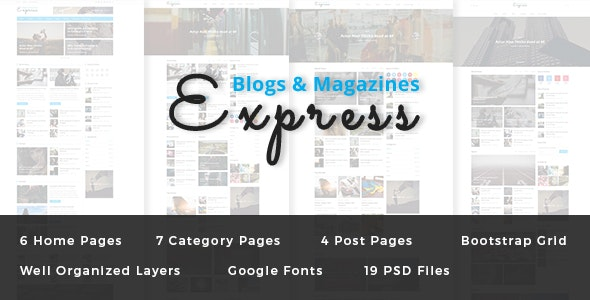 Express - Blog and Magazine PSD Template - Photoshop UI Templates