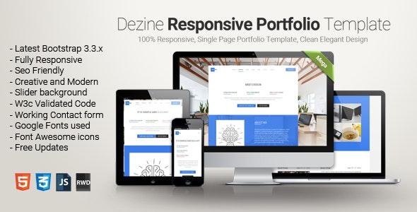 Dezine-One-page-portfolio - Personal Site Templates