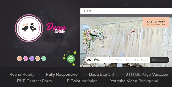 Dear Bride - One Page Wedding Salon HTML Template - Wedding Site Templates