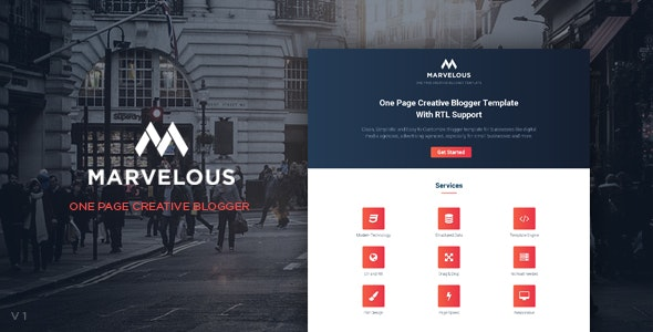 Marvelous - One Page Creative Blogger Template With RTL Support - Blogger Blogging