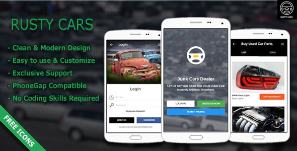 Rusty Cars | Search Junk Cars & Used Parts - Responsive Mobile Template - Mobile Site Templates