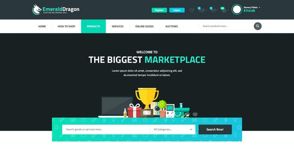Emerald Dragon - PSD Multipurpose Marketplace