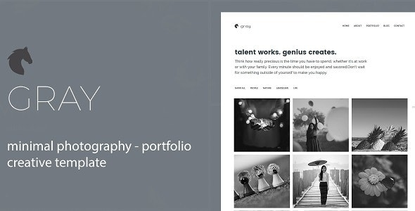 Gray- Minimal Photography and Portfolio Template - Portfolio Creative
