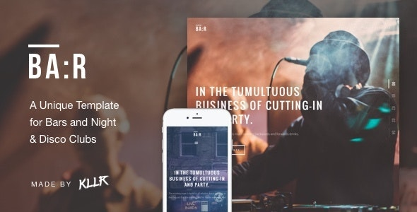 BA:R - Unique Bar, Night & Disco Club Template - Nightlife Entertainment