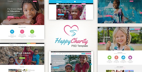 HappyCharity - Multipurpose Nonprofit Charity PSD Template - Charity Nonprofit