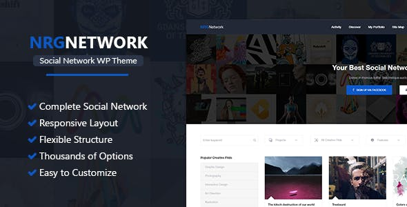 Download NRGNetwork - Responsive Social Network WordPress Theme