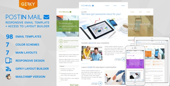 Postin Mail - Responsive Email Template + Access to Gifky Layout Builder - Email Templates Marketing