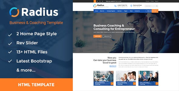 Radius - Training, Coaching, Consulting & Business HTML Template