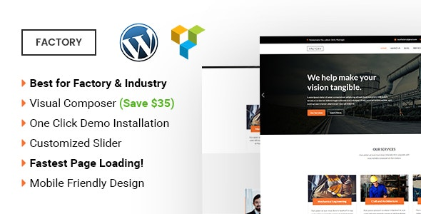 Factory -  Industrial and Factory WordPress Theme - Corporate WordPress