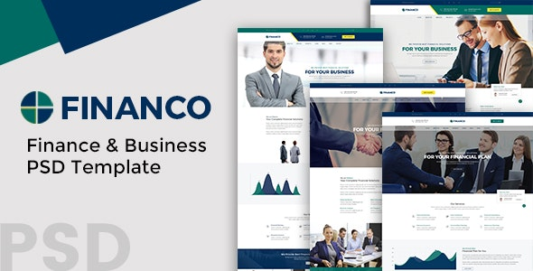 Financo - Finance and Buisness PSD Template - Business Corporate