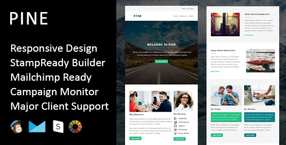 Pine - Multipurpose Responsive Email Template + Stampready Builder - Email Templates Marketing