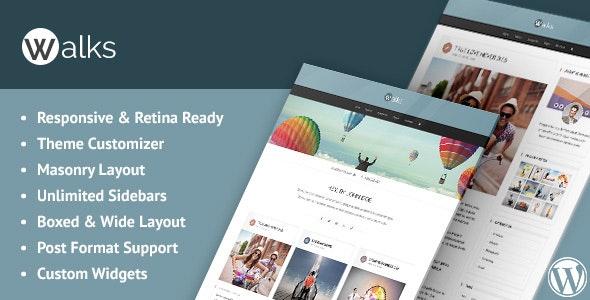 Walks - Responsive Masonry WordPress Blog Theme - Personal Blog / Magazine