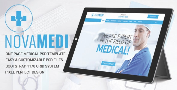 NOVAMEDI - one page Medical psd template - Health & Beauty Retail