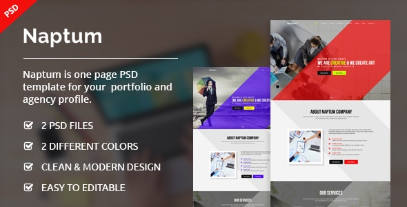 Naptum - One Page Parallax PSD Template - Creative Photoshop