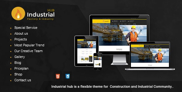Industrial Hub - Factory / Construction Html Template - Business Corporate