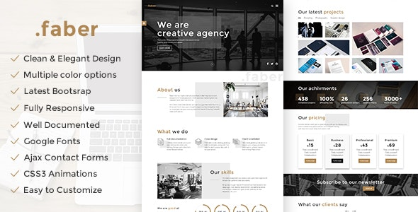 Faber - Creative Agency Responsive Site Template - Creative Site Templates