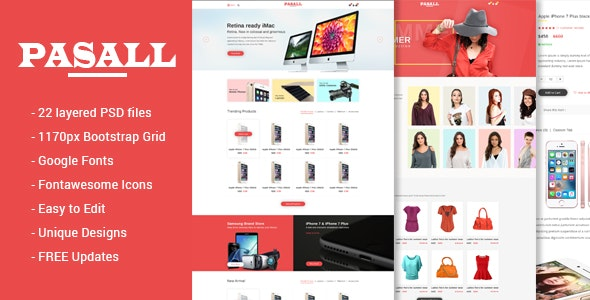 Pasall - Modern eCommerce PSD template - Shopping Retail