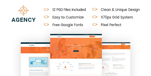 Agency - Creative & Minimal PSD Template For Agency - Photoshop UI Templates