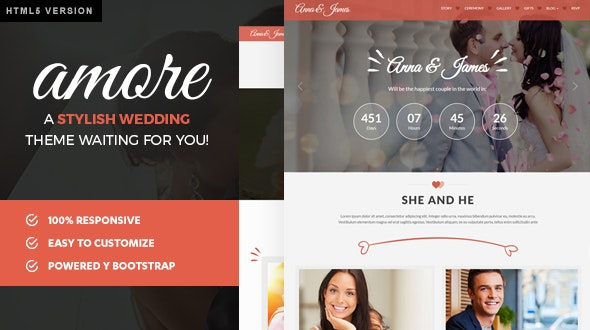 Amore Wedding | HTML5 Bootstrap Template for Weddings - Wedding Site Templates