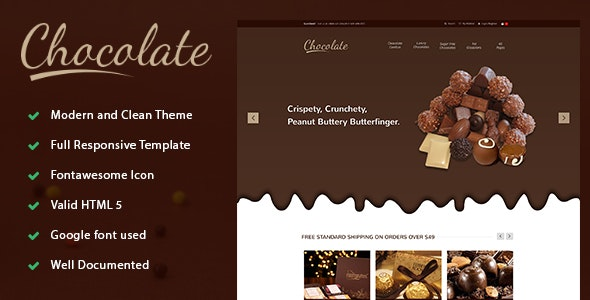 Chocolate - E-commerce Sweets & Cupcakes Bootstrap Template - Retail Site Templates